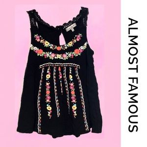 ALMOST FAMOUS Boho Tank Black Medium